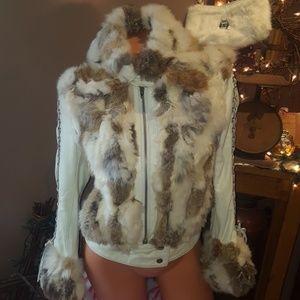 Bebe 100% leather 100% rabbit fur coat XS